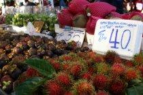 Früchte (u.a. Mangosteen rechts im Bild)
